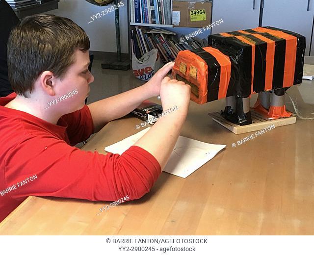 6th Grade Boy Working on Art Project, Wellsville, New York, USA