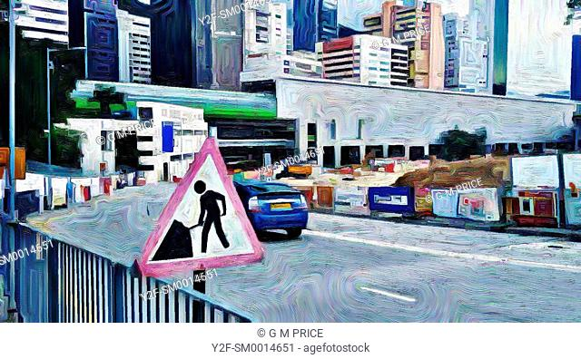 painting filter view of road, construction site and buildings at Aberdeen, Hong Kong