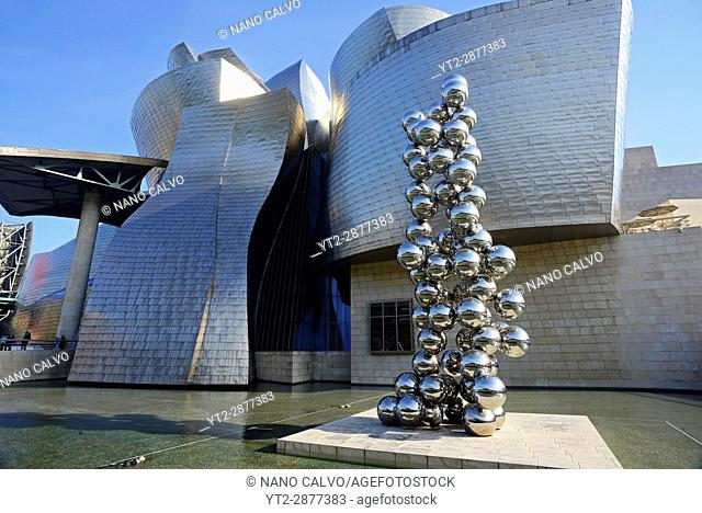 """""""""""Tall Tree & The Eye"""" sculpture by Anish Kapoor at the Guggenheim Museum Bilbao is a museum of modern and contemporary art"