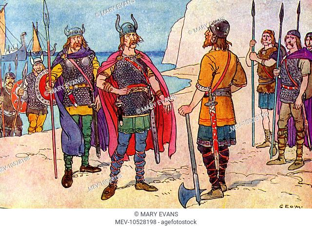 When the Romans withdrew their troops from Britain after about 400 years, the British King needed help with organising his army, so two Saxons
