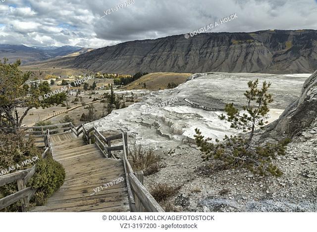 Mammoth Hot Springs Overlook Yellowstone National Park, Montana, USA, World Location
