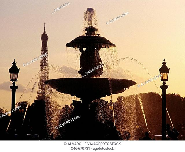 Eiffel Tower and Fountain at Palais Royal, Paris, France