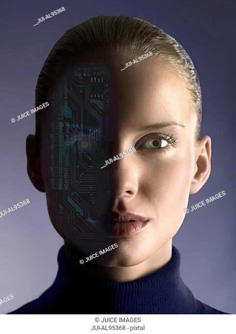 Woman with circuit board on half of face