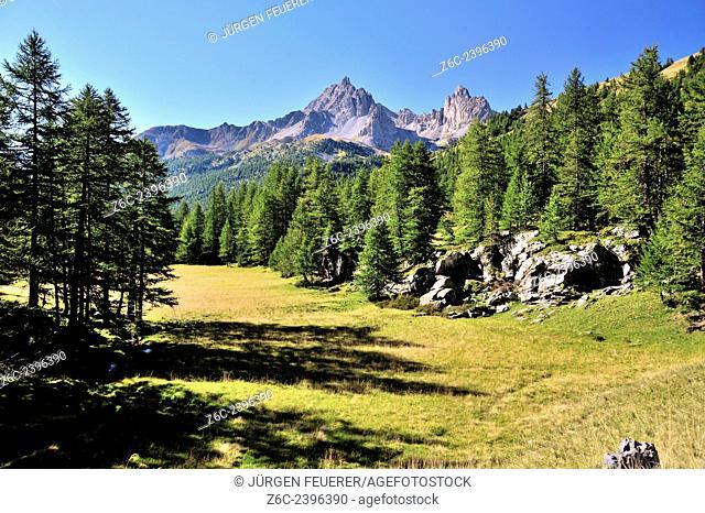Picturesque mountain landscape of Vallée de la Clarée, Hautes-Alpes, French Alps, France