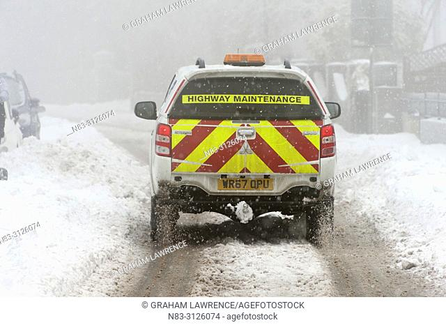 A blizzard hits the town of Brynmawr in Blaenau Gwent, Wales, UK in early March 2018