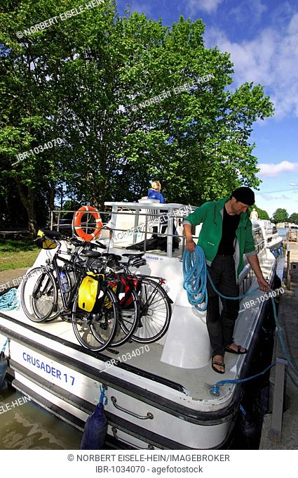 Bicycles on a boat, Canal du Midi, Midi, France, Europe