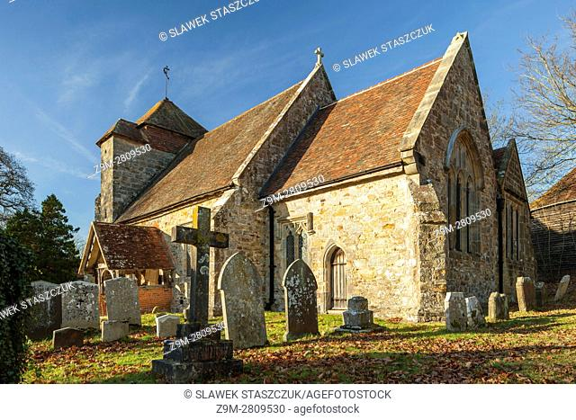 Penhurst parish church on an autumn afternoon, East Sussex, England. High Weald