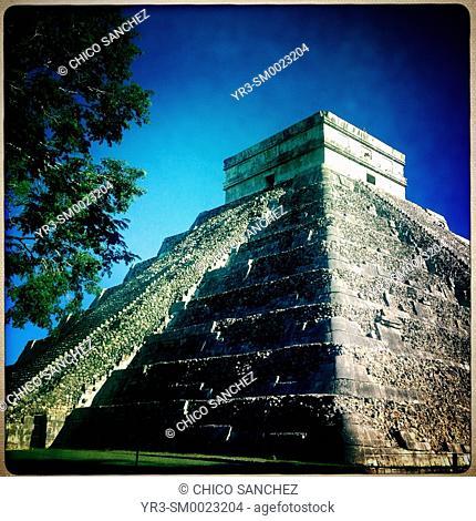 The Pyramid of the Sun in Chichen Itza, Yucatan, Mexico
