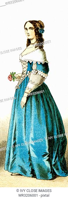 The Figure represented here is a French lady of the court in the 17th century, specifically between 1600 and 1670. The illustration dates to 1882