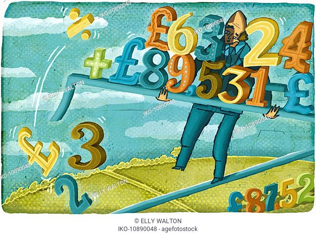 Stressed businessman walking tightrope balancing falling British pound calculations