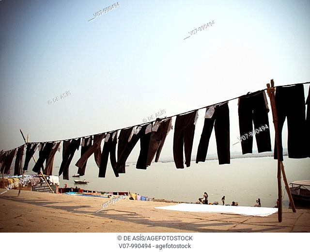 Washing by Ganges river, Varanari, Uttar Pradesh, India