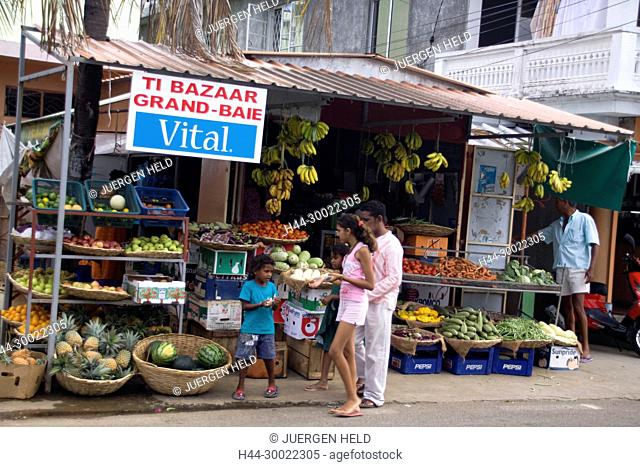 Friut and vegetable store at main street in Grand Baie , Mauritius, Africa