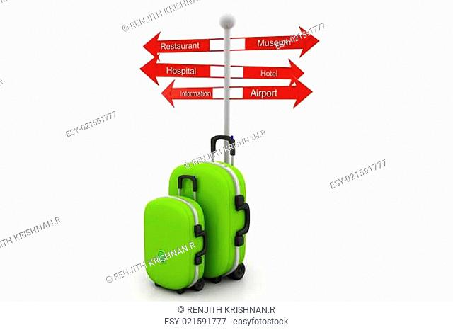 tourist sign post and suitcases
