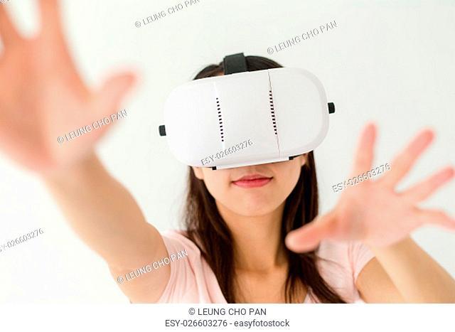 Woman use of virtual reality device