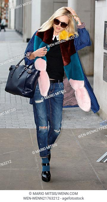 Fearne Cotton arriving at the BBC Radio 1 studios wearing ripped jeans and a large multicoloured fluffy scarf. Featuring: Fearne Cotton Where: London