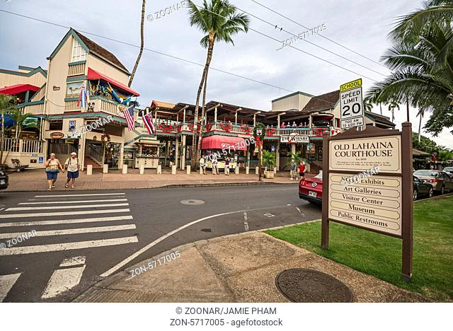 The world famous town of Lahaina on Maui