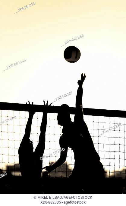 women playing beach volleyball. Laredo beach, Cantabria, Spain, Europe