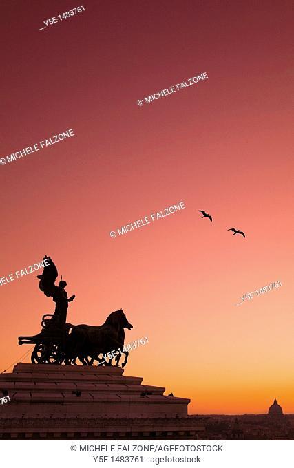 Statue of Goddess Victory, Vittorio Emmanuele II Monument Il Vittoriano, Rome, Italy SUNSET FILTER