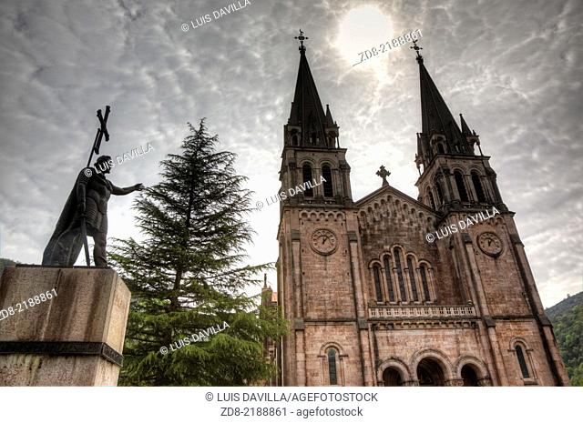 Covadonga basilica and don pelayo statue, Asturias, Spain