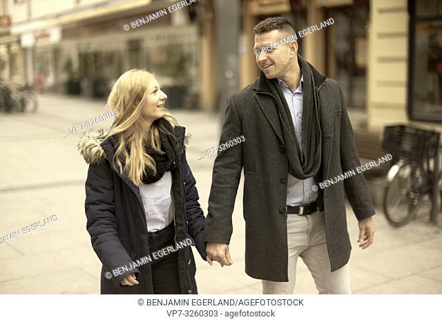 German couple in city Cottbus, Brandenburg, Germany