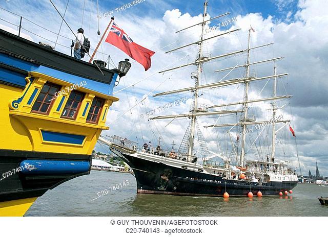 Grand Turk frigate and British SV Tenacious on the Seine, Rouen. Normandy, France (L'Armada 2008 sailing event)
