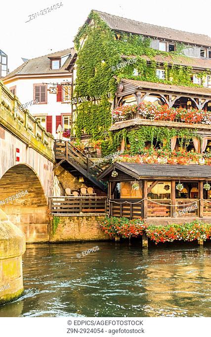 partial view of pont saint martin and restaurant au pont saint martin, petite france district, strasbourg, alsace, Bas-Rhin, France