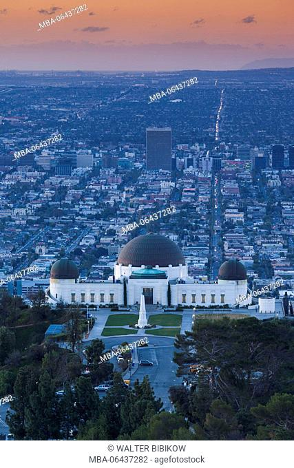 USA, California, Los Angeles, elevated view of the Griffith Park Observatory, dawn
