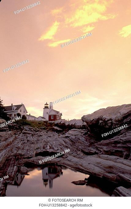 lighthouse, Maine, sunrise, sunset, Pemaquid Point, Bristol, ME, Pemaquid Head Light reflects in a pool of water at sunrise along the rocky coast of the...