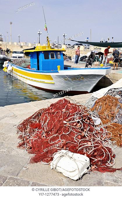 Fishing nets and boats, Gallipoli, Puglia, Italy