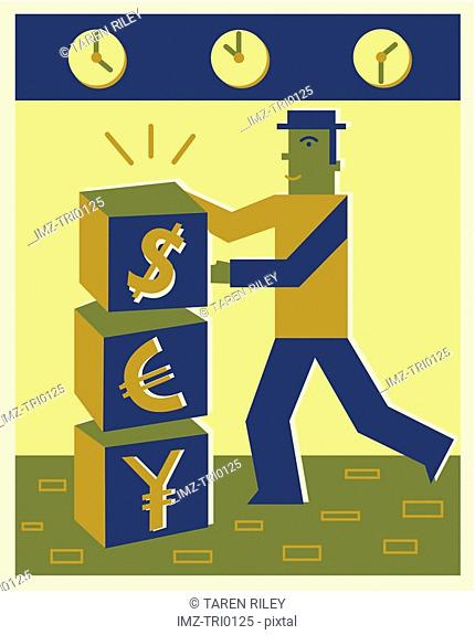 A man building blocks with currency symbols