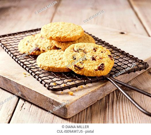 Oats and dried fruit cookies on baking rack