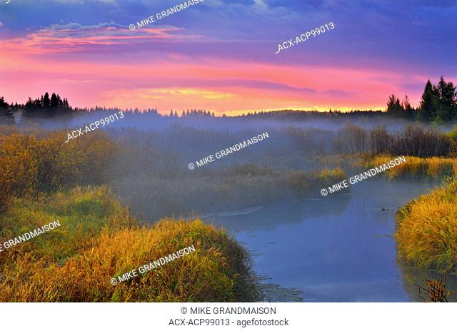 Dawn on Sppuce River wetland Prince Albert National Park Saskatchewan Canada