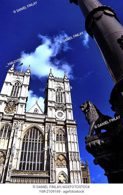 Facade of Westminster Abbey in London, England, on a sunny Summer day