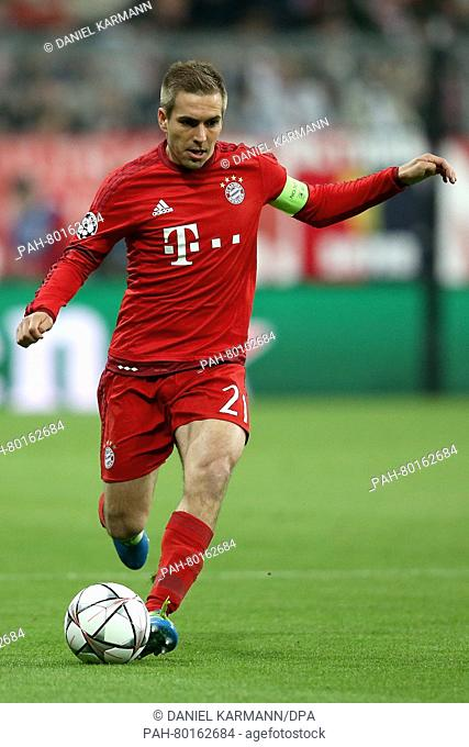 Bayern's Philipp Lahm in action during the Champions League semi-final second leg soccer match between Bayern Munich and Atletico Madrid at the Allianz Arena in...