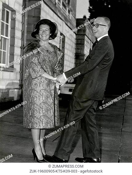 Sep. 5, 1960 - London, England, U.K. - DUKE of BEDFORD and his new wife Mme. NICOLE MILINAIRE French T.V. producer. PICTURED: The couple at Woburn Abbey