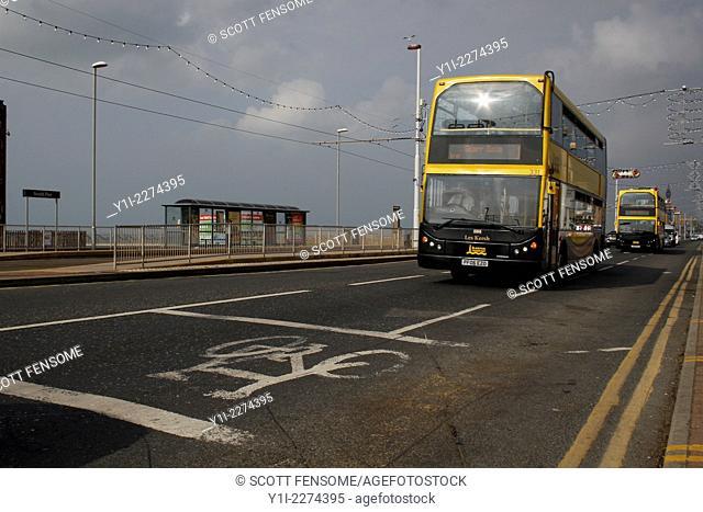 buses on promenade, Blackpool, Lancashire, England, UK