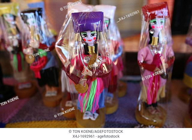 Longneck replica dolls for sale at a shop for tourists Approximately 300 Burmese refugees in Thailand are members of the indigenous group known as the Longnecks...