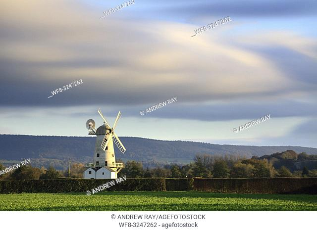 Llancayo Windmill near Usk in Monmouthshire, Wales, captured on an evening in late Ocober. A long exposure was utilised to blur the movement in the fast moving...