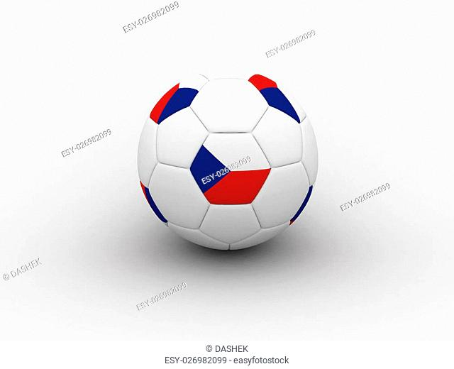 Photorealistic 3D soccer ball isolated on white background in national Czech colors