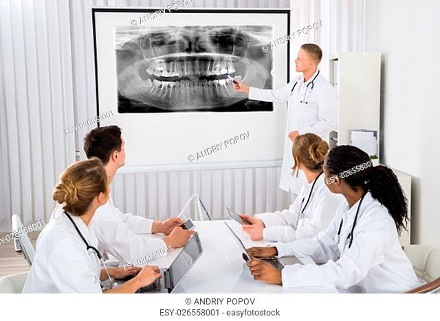 Young Male Doctor Explaining Human Teeth X-ray To His Colleagues