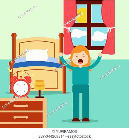 girl waking up and stertching near bed at home vector illustration