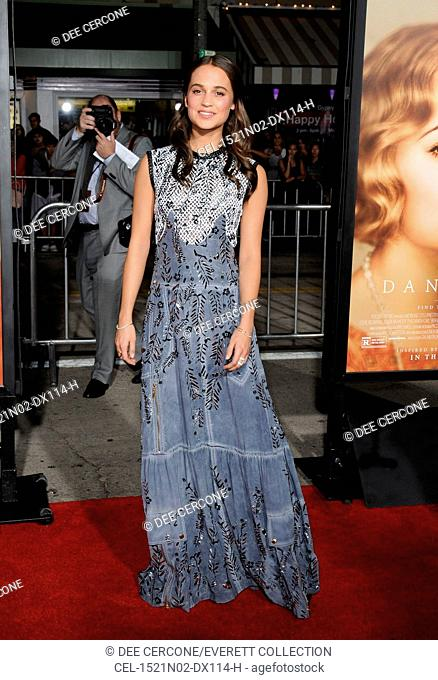 Alicia Vikander (wearing a Louis Vuitton dress) at arrivals for THE DANISH GIRL Premiere, Regency Westwood Village Theatre, Los Angeles, CA November 21, 2015