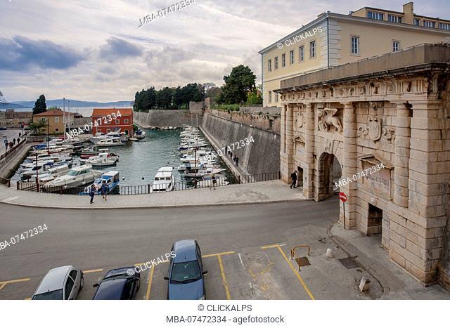 Mainland Gate, Kopnena vrata, with the Venetian winged lion over gate entrance to the city of Zadar, Dalmatia, Croatia
