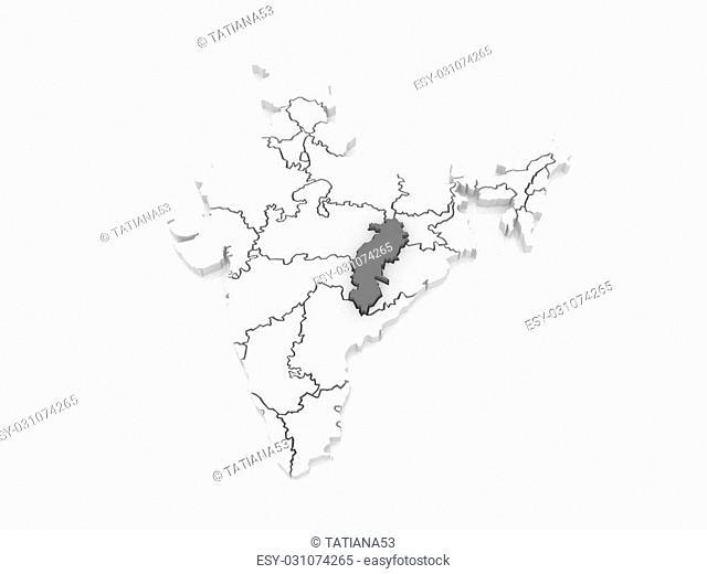 Map of Chhattisgarh. India. 3d
