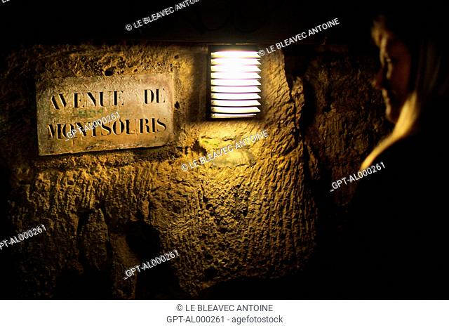 UNDERGROUND SIGN FOR THE AVENUE DE MONTSOURIS, CATACOMBS OF PARIS, 14TH ARRONDISSEMENT, PARIS 75