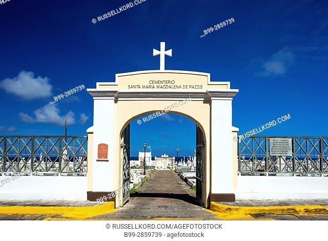 ENTRANCE ARCHWAY SANTA MARIA MAGDALENA DE PAZZIS CEMETERY OLD TOWN SAN JUAN PUERTO RICO
