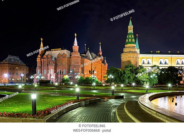 Russia, Moscow, Manezhnaya Square with Corner Arsenalnaya Tower and State Historical Museum