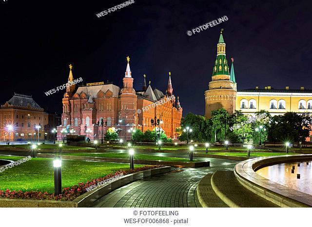 Russia, Moscow, Manezhnaya Square with Corner Arsenalnaya Tower and State Historical Museum
