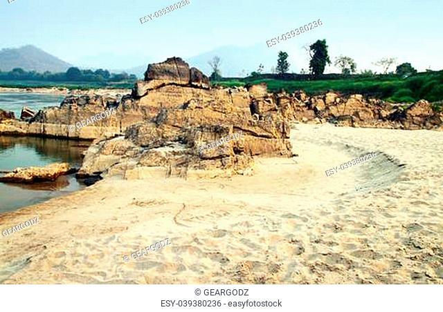 Sand of the Mekong River take from Kaeng Kood Koo of Chiangkhan, Loei, Thailand