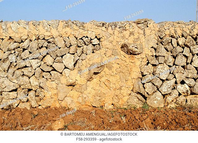 Stone wall, traditional architecture in Cami d'en Kane. Minorca. Balearic Islands. Spain